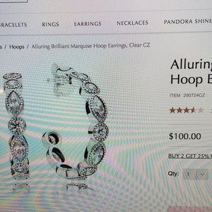 32998966e Pandora Jewelry   Alluring Brilliant Marquise Hoop Earrings   Poshmark
